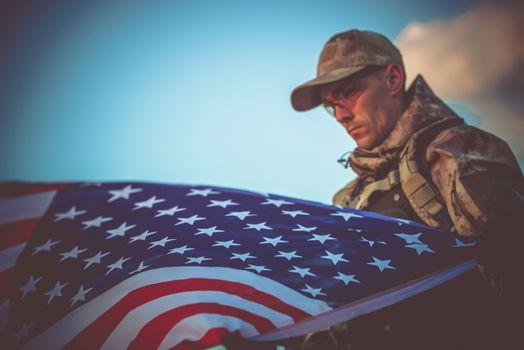 Army Veteran with USA Flag