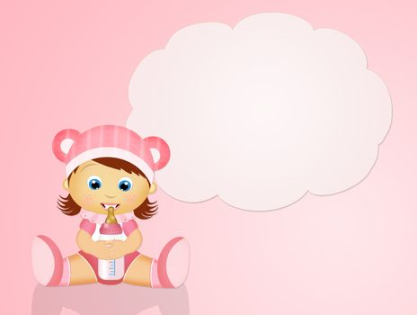 illustration of baby female with baby bottle