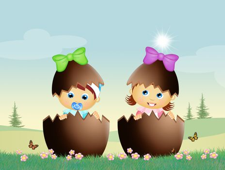 illustration of babies in the chocolate eggs
