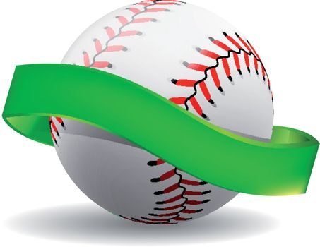 Baseball on white background with green ribbon. Vector illustration