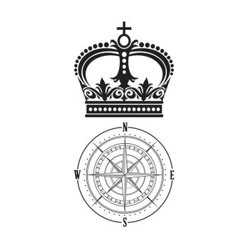 Crown and compass tattoo