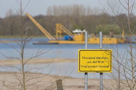 Commercial sand mining on a recreational Lake the Hilgelo near Winterswijk in the Achterhoek in the Netherlands