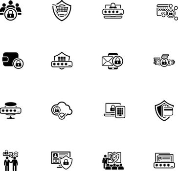 Flat Design Protection and Security Icons Set.