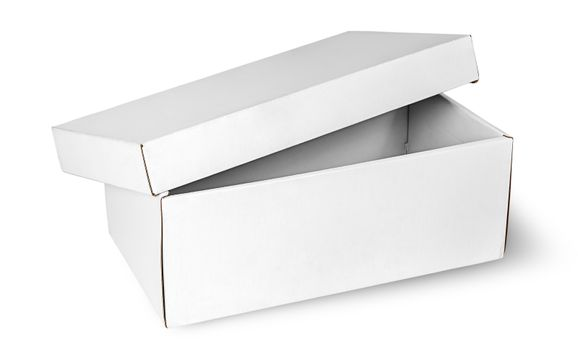 Ajar empty white box with lid