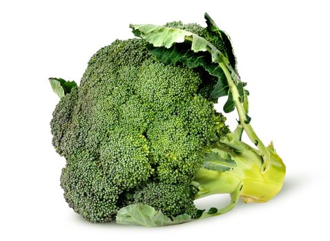 Big broccoli florets with leaves rotated