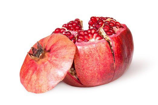 Broken Bright Ripe Juicy Pomegranate With Lid Near