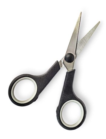 Disclosed small scissors with black handles