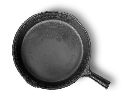 Empty old cast iron frying pan