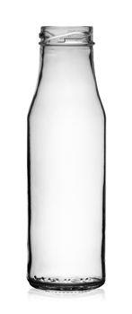 Empty transparent glass bottle without lid