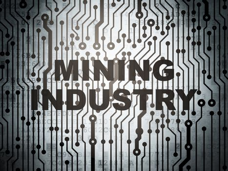Industry concept: circuit board with  word Mining Industry, 3D rendering