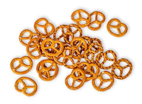 Heap crunchy pretzels with salt
