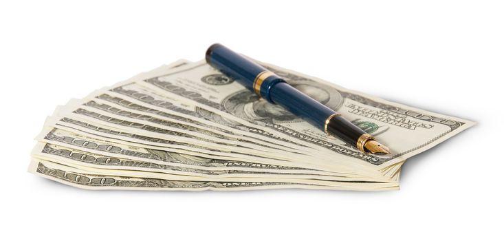 Hundred dollar bills and pen
