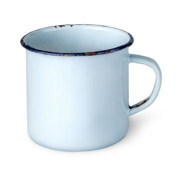 Old worn enameled mug rotated