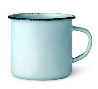 Old worn enameled mug