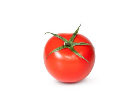 One Fresh Red Tomato With Green Stem