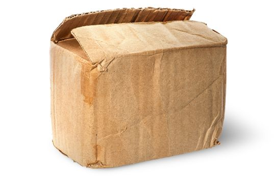 On top worn old cardboard box
