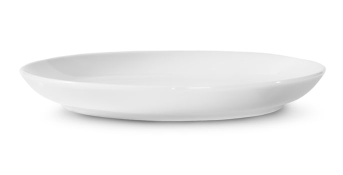One Isolated White Porcelain Plate Rotated