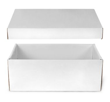 Open empty white box with lid