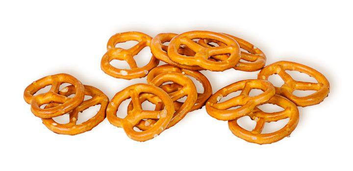 Pile crunchy pretzels with salt