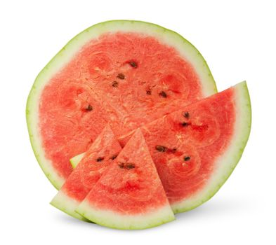 Several slices of watermelon different size