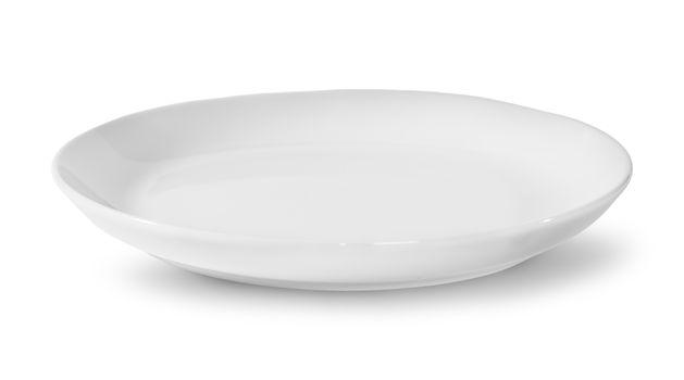 Single White Porcelain Plate