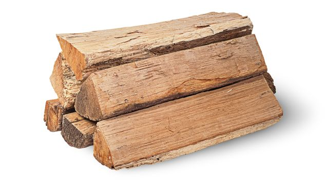 Stack of firewood rotated