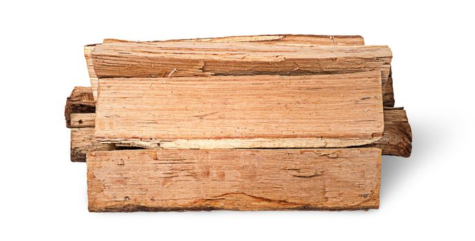 Stack of firewood side view