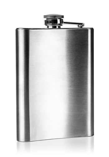 Stainless steel hip flask rear view