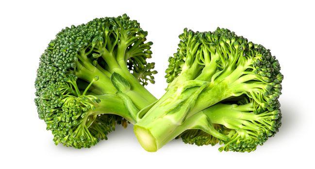 Two broccoli florets beside