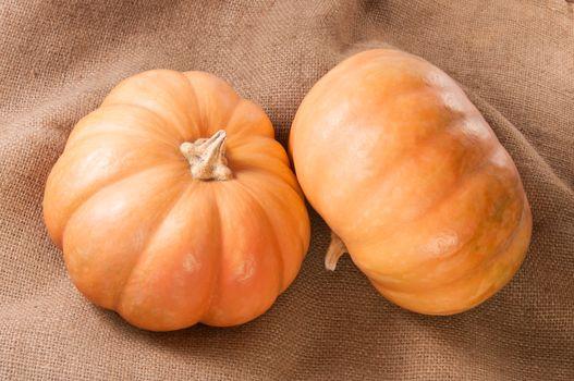 Two Pumpkins On Sackcloth