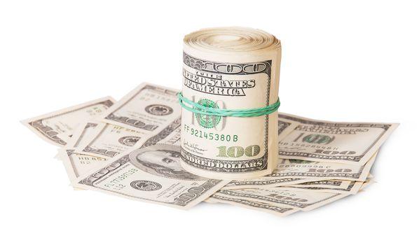 Vertical roll on the hundred dollar bills