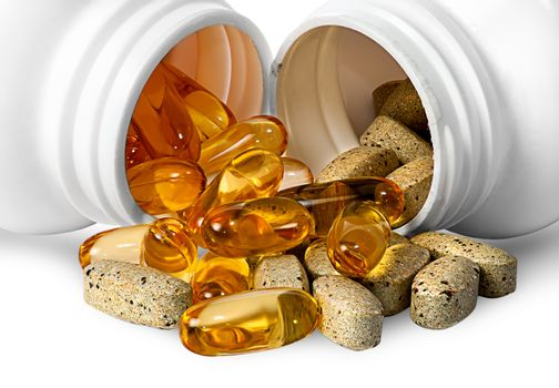 Vitamins and fish oil capsules together