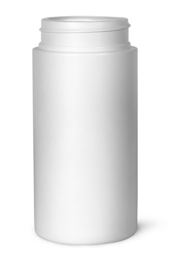 White plastic bottle for vitamins without lid