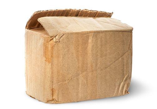Worn old cardboard box