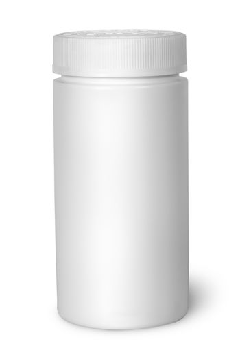 White plastic bottle for vitamins with lid closed