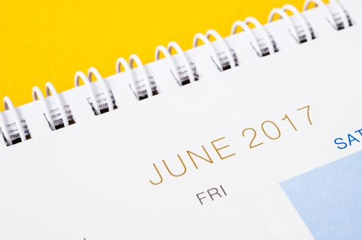 Close up JUNE 2017 calendar page.