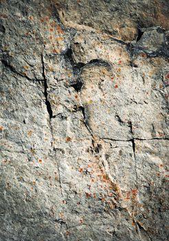 dark fissures on limestone rock