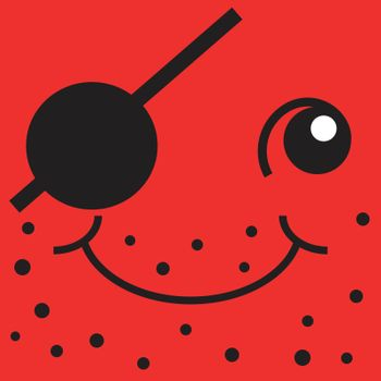 Red smiley face one-eyed pirate