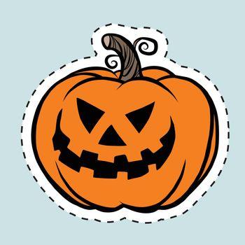 Sticker label evil Halloween pumpkin