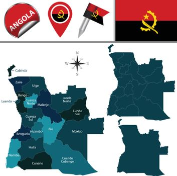 Map of Angola with Named Provinces