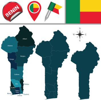 Map of Benin with Named Departments