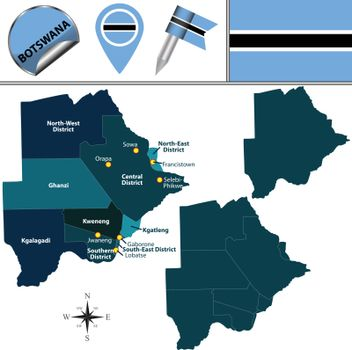 Map of Botswana with Named Districts