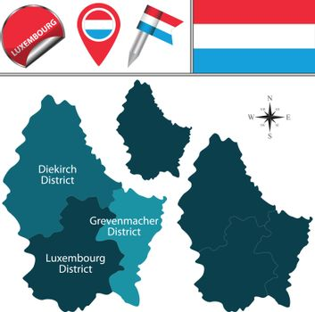 Map of Luxembourg with Districts