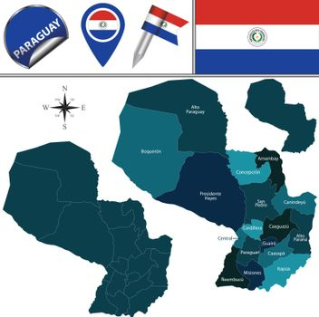 Map of Paraguay with Departments