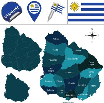 Map of Uruguay with Named Departments