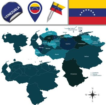 Map of Venezuela with Named States