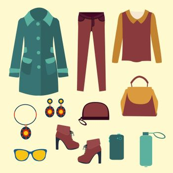set of Fashion collection of spring and Autumn woman wardrobe - Illustration. Vector vector fashion clothes and accessories for women for design