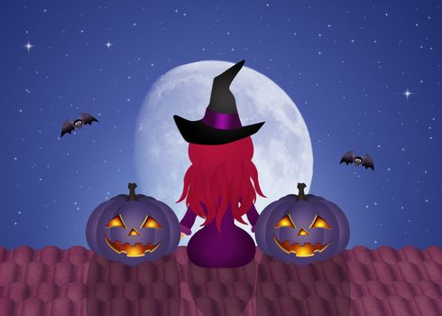 illustration of Halloween witch and pumpkins