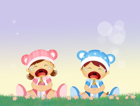 illustration of babies cries