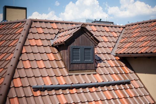 Detail of overlapping roofing tiles on a new build